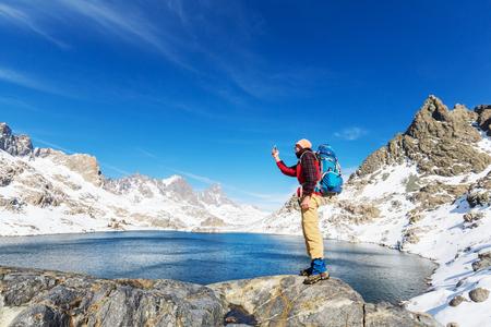 sierra nevada: Man with hiking equipment walking in Sierra Nevada mountains, California, USA