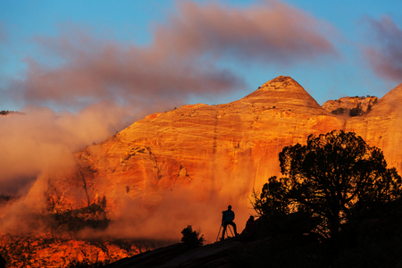 Zion  National Park at sunrise. Utah, Usa Stock Photo