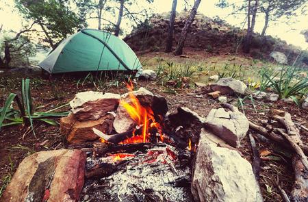 close shot: Campfire, close up shot Stock Photo