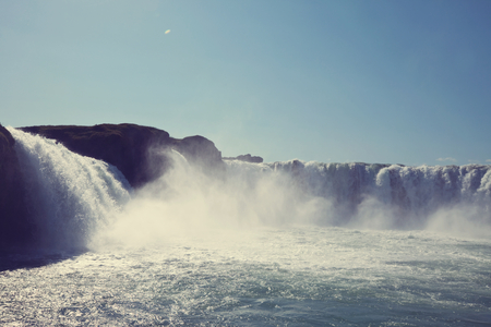 Icelandic dramatic landscapes with waterfall Stock Photo