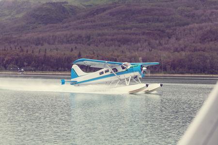 Seaplane in Alaska. Summer season. Foto de archivo