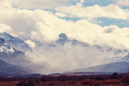 aspen leaf: Mountain Landscape in Colorado Rocky Mountains, Colorado, United States. Stock Photo