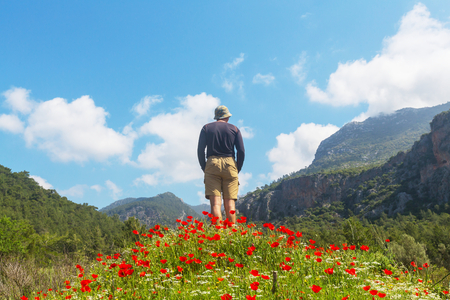 Hiking in famous Lycian Way in the Turkey. Backpacker in the trail. Stock Photo