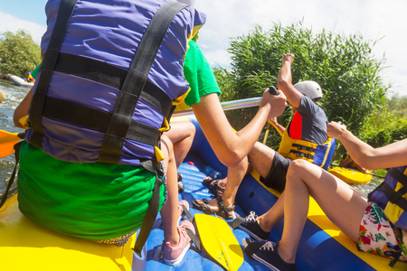 Rafting team , summer extreme water sport Stock Photo