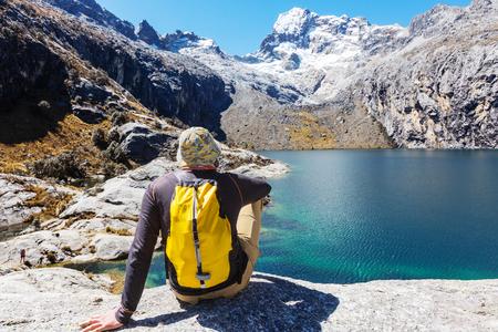 campsite: Hiking scene in Cordillera mountains, Peru Stock Photo