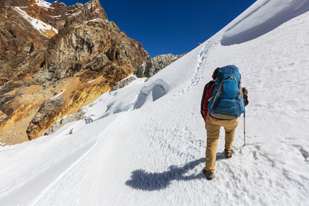 campsite: Hiking man with scene in Cordillera mountains, Peru