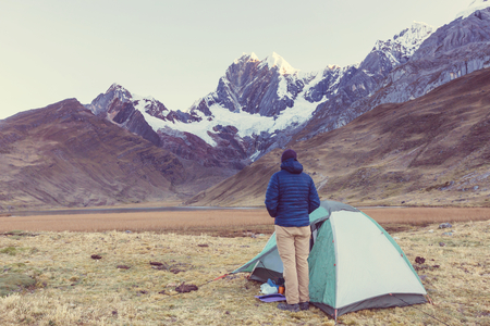 Wandelen scène in Cordillera bergen, Peru