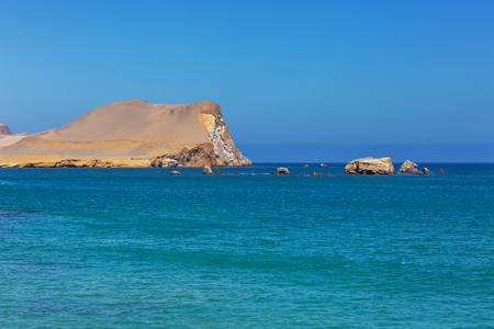 desert ecosystem: Beautiful coastline landscapes in  Paracas National Reserve, Ica Region, Pacific coast of Peru.