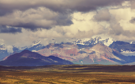 Picturesque Mountains of Alaska in summer. Snow covered massifs, glaciers and rocky peaks. Stock Photo - 86502478
