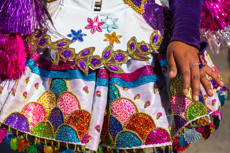 Colorful decor on carnaval dressing in Peru, South America Stock Photo