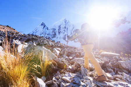 Hiking scene in Cordillera mountains, Peru Stock Photo