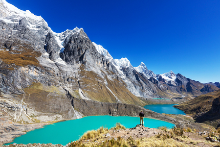 The three lagoons at the Cordillera Huayhuash, Peru 免版税图像