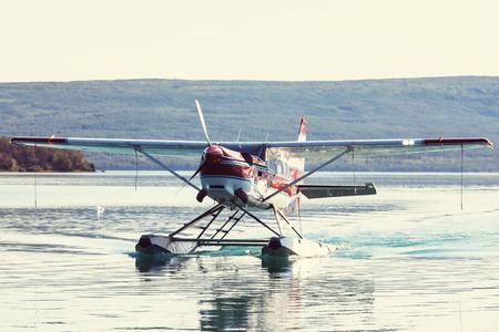 Seaplane in Alaska. Summer season. Stock Photo
