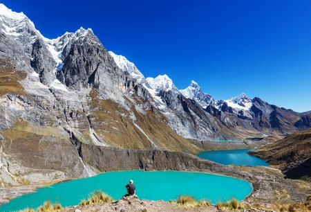 The three lagoons at the Cordillera Huayhuash, Peru Stockfoto