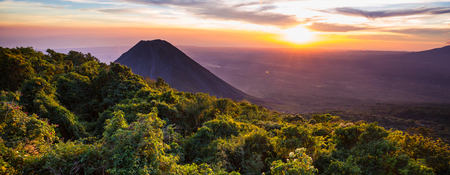 Beautiful  volcano  in Cerro Verde National Park in El Salvador at sunset Stock Photo