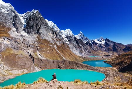 The three lagoons at the Cordillera Huayhuash, Peru Stock fotó