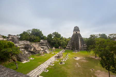 Famous ancient Mayan temples in Tikal National Park, Guatemala, Central America