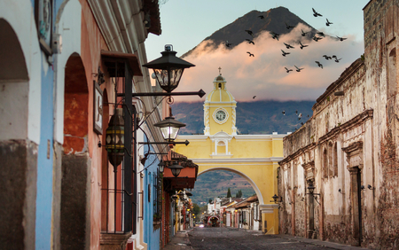 Colonial architecture in ancient Antigua Guatemala city, Central America, Guatemala 스톡 콘텐츠 - 97447653