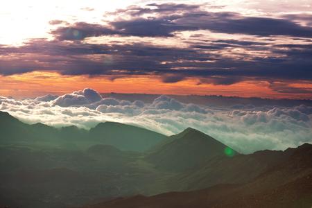sunset on  Mauna Kea,Hawaii