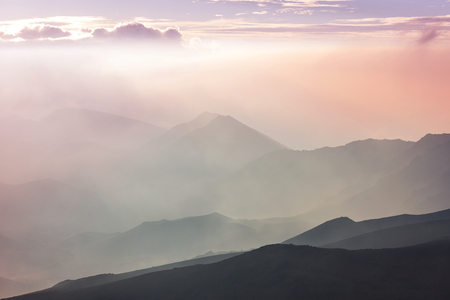 Beautiful sunrise scene  on  Haleakala volcano, Maui island, Hawaii Stock Photo