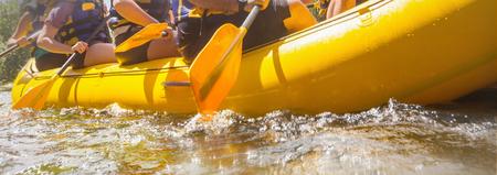 Rafting team , summer extreme water sport Foto de archivo