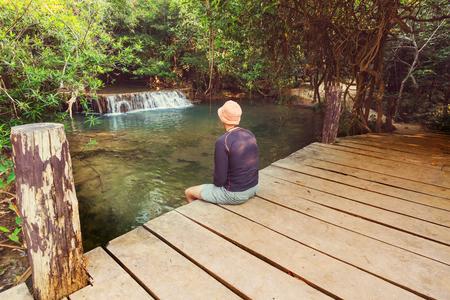 Beautiful waterfall in rainforest, Kanchanaburi province, Southeast asia, Thailand Stock Photo