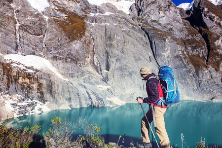 Hiking scene in Cordillera mountains, Peru Stock Photo