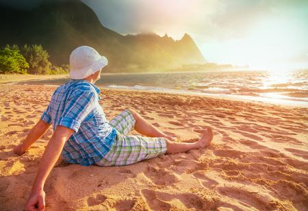 Beautiful scene in Tunnels Beach on the Island of Kauai, Hawaii, USA