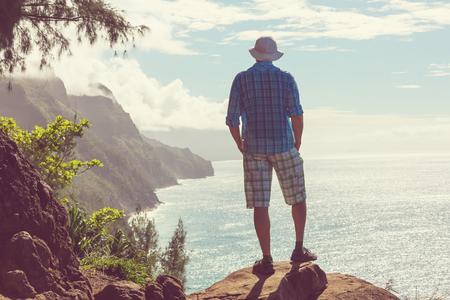 Hike in Na Pali coast in Kauai icland, Hawaii