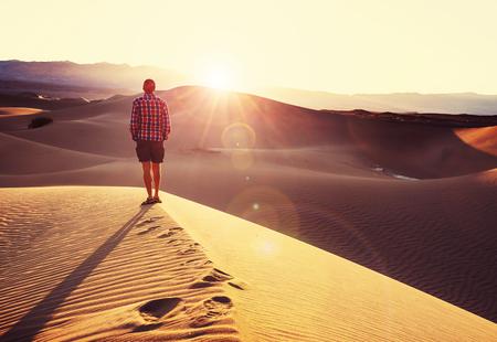 Hike in sand desert Stock Photo