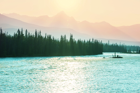 Picturesque Canadian mountains in summer Stock Photo