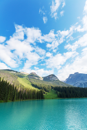 Serenity Emerald Lake in the Yoho National Park, Canada. Instagram filter Stock Photo