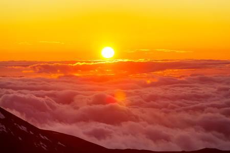 Sunset on  summit  Haleakala , Hawaii 写真素材