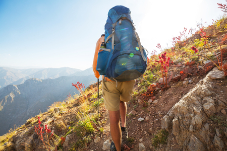 Hike in Chimgan mountains, Uzbekistan. Stock Photo
