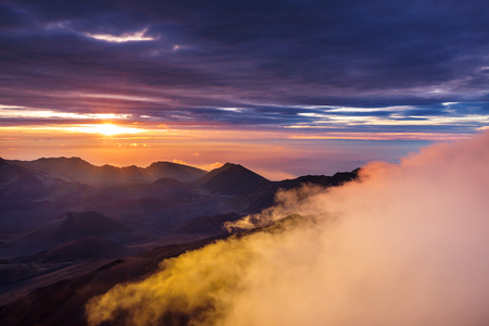 Beautiful sunrise scene  on  Haleakala volcano, Maui island, Hawaii Stock fotó