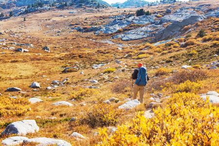 Hike in autumn mountains Banco de Imagens