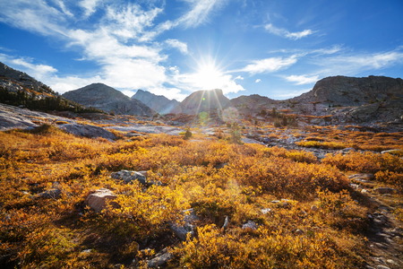 Hike in Wind River Range in Wyoming, USA. Autumn season.