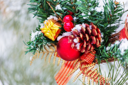 Beautiful traditional Christmas decor closeup