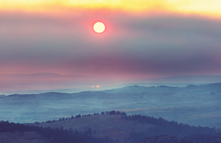Mountains lake at sunset Stock Photo