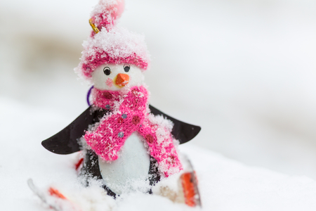 Snowman in winter background Stock Photo