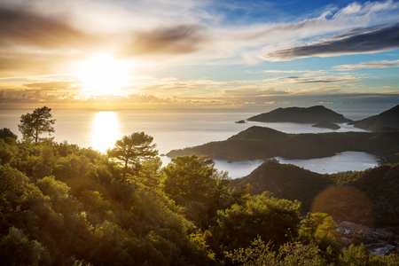 Beautiful sea coast ay sunset  in Turkey