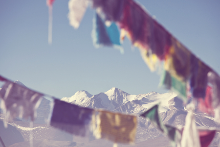 Prayer flags in Himalaya  mountains, Tibet
