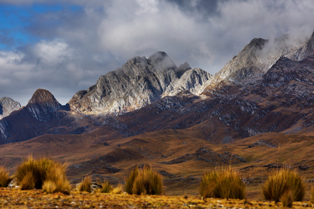 Landscape of snow high mountain in the Andes, near Huaraz, Peru