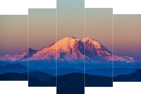 Mount Rainier national park, Washington. Art collage.