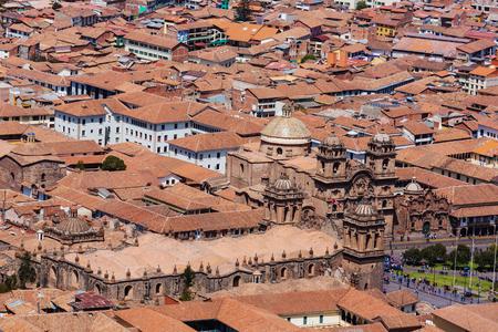 Beautiful famous Cusco city in Peru. Imagens
