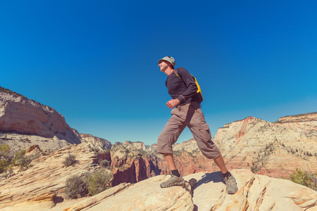 Hike in Zion National Park, man hiking in Zion National park,Utah Reklamní fotografie