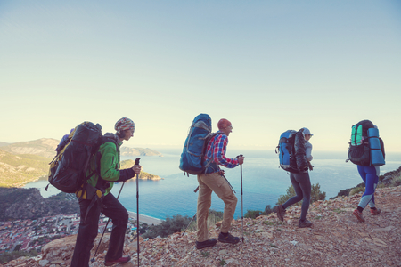 People in hike in the mountains Stock Photo