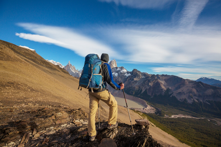 Hike in the Patagonian mountains, Argentina Stock Photo