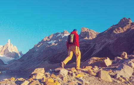 Berühmter schöner Gipfel Cerro Torre in Patagonia-Bergen, Argentinien. Schöne Berglandschaften in Südamerika.