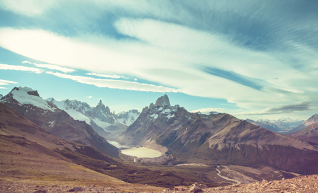 Famous Cerro Fitz Roy - one of the most beautiful and hard to accent rocky peak in Patagonia, Argentina